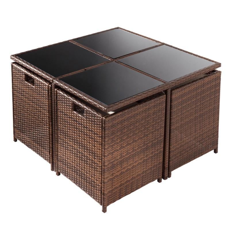 polyrattan gartenm belset camouflage 9tlg braun. Black Bedroom Furniture Sets. Home Design Ideas