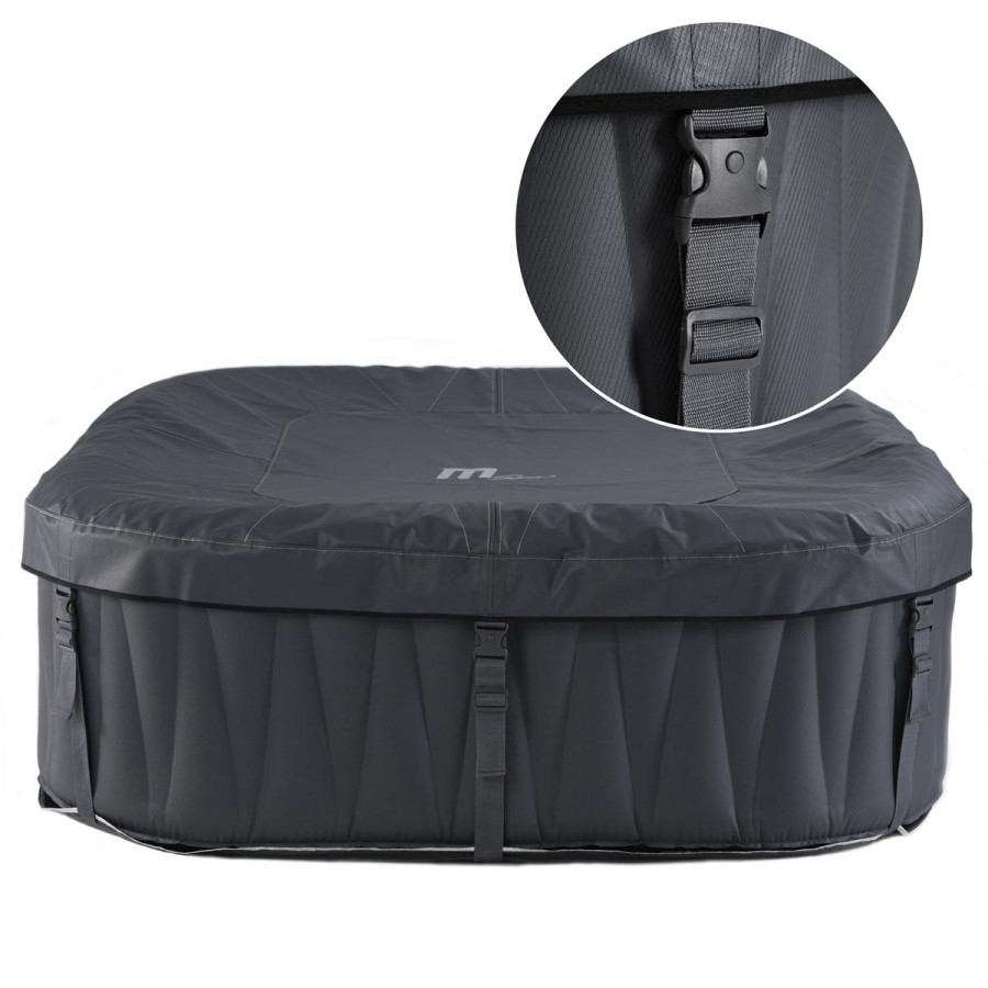 Inkl. Isolier-Abdeckung und Bodenmatte mit Schnellverschlüssen als Schutz vor Umwelteinflüssen und damit die Wärme im Pool bleibt