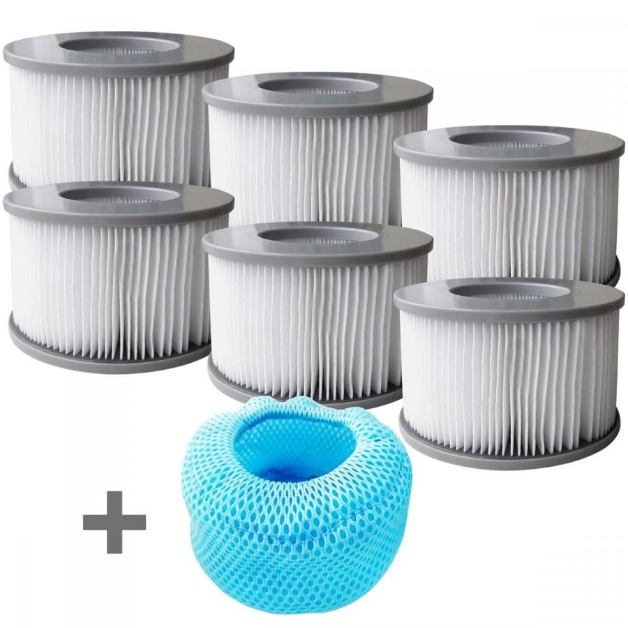 Whirlpool Filter 6er Set inkl. Netzabdeckung