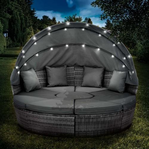Sonneninsel mit LED inkl. Abdeckung grau/anthrazit