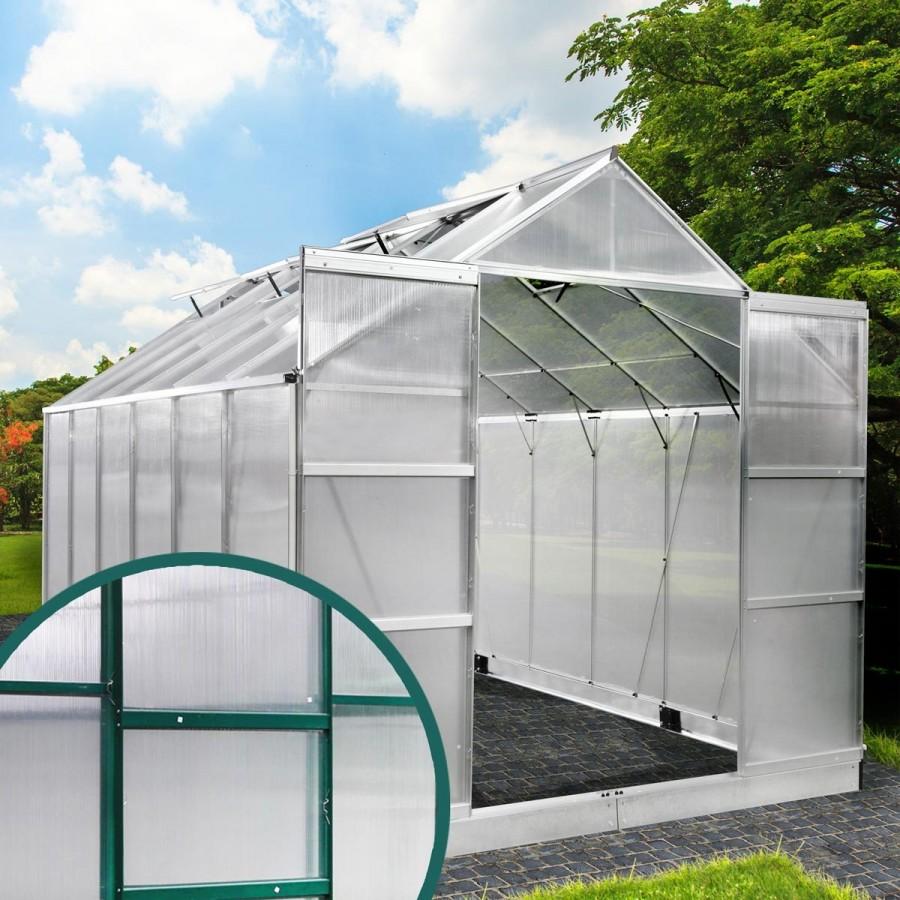 Aluminium-Gewächshaus 23 380x250x235 grün