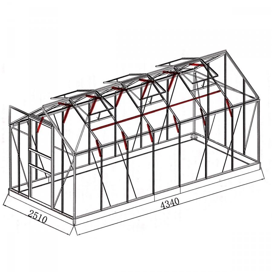 mit 20 zusätzlichen Dachgiebel- und Wandprofilverstärkungen sowie Dachstreben