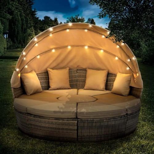 Sonneninsel mit LED inkl. Abdeckung braun/beige