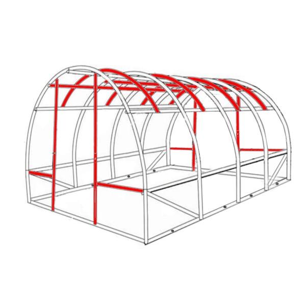 Unser Gewächshaus mit erheblich mehr Stahlverstrebungen als herkömmliche Modelle (rot markiert)