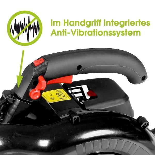 Anti-Vibrations-Handgriff mit Soft-Grip sowie variabler Gashebel mit Feststelltaste