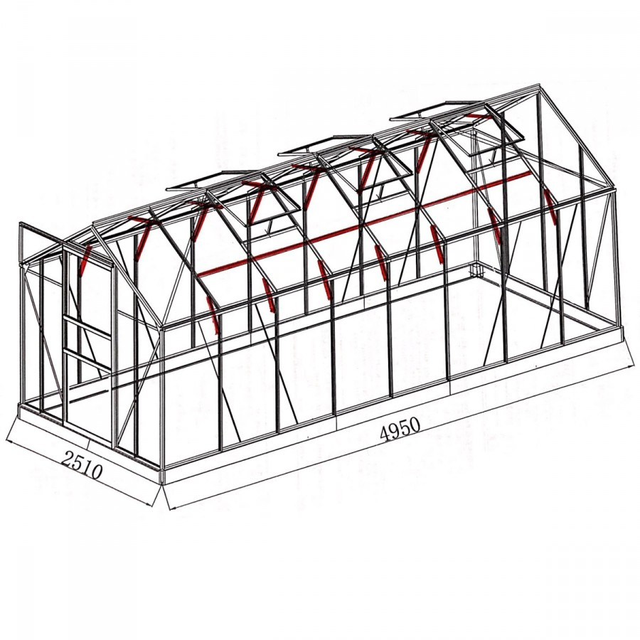 mit 23 zusätzlichen Dachgiebel- und Wandprofilverstärkungen sowie Dachstreben