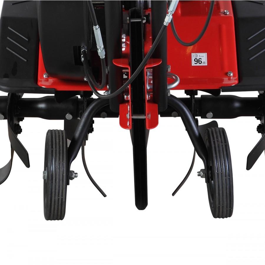 Transporträder für einfache Bewegung zum Einsatzort, die zum Arbeiten einfach hochgeklappt werden