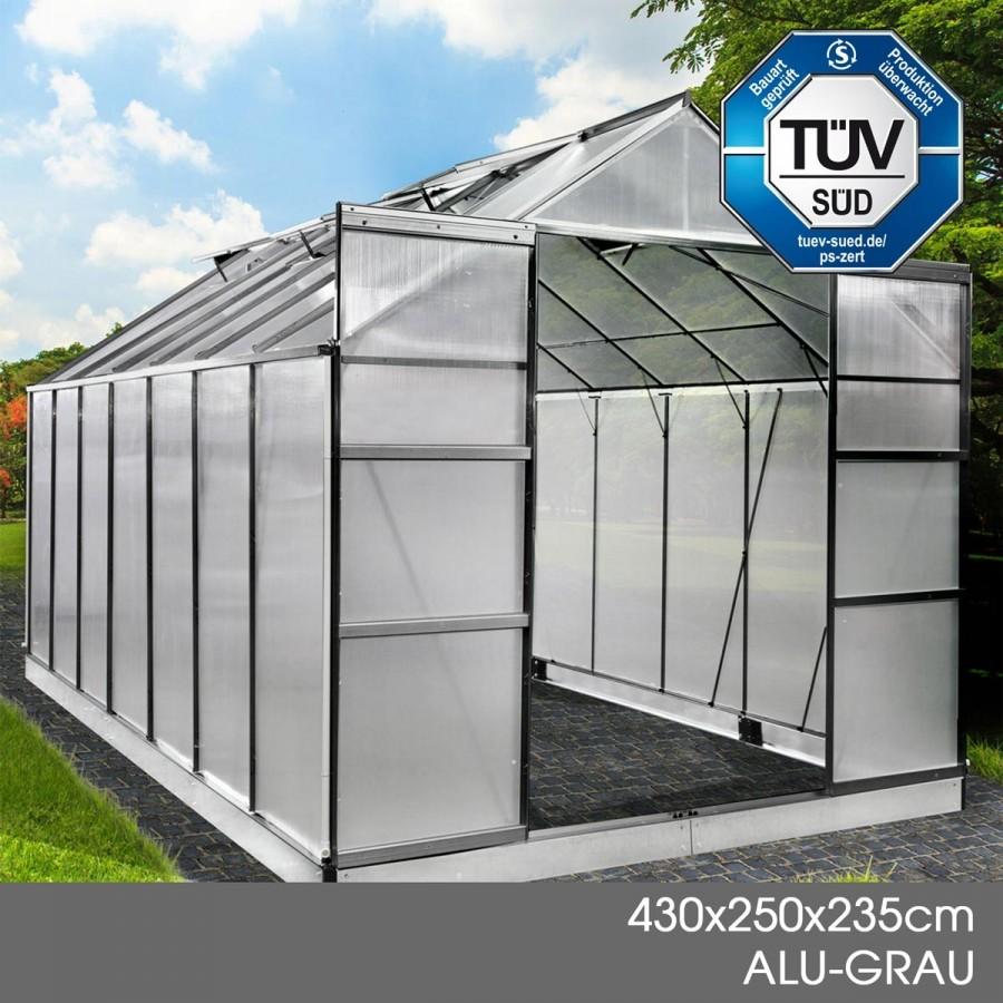 Aluminium-Gewächshaus 41 430x250x235 anthrazit