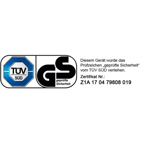 """Die Brast Motorsense wurde von dem unabhängigen akkreditierten Prüfinstitut TÜV Süd getestet und mit dem Prüfsiegel """"Geprüfte Sicherheit"""" versehen (Zertifikats-Nr. Z1A 17 04 79808 019)"""