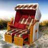 Strandkorb Flexi Grundmodell rot+ Bezug rot-beige-grün-karo