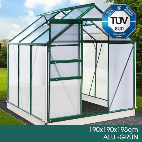 Aluminium-Gewächshaus 15 190x190x195 grün