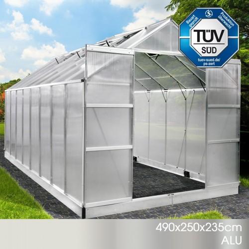 Aluminium-Gewächshaus 21 490x250x235 grün