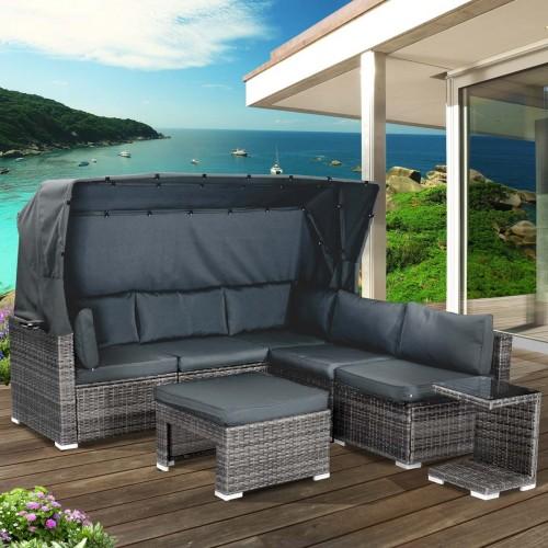 Polyrattan Lounge-Insel mit LED grau/anthrazit