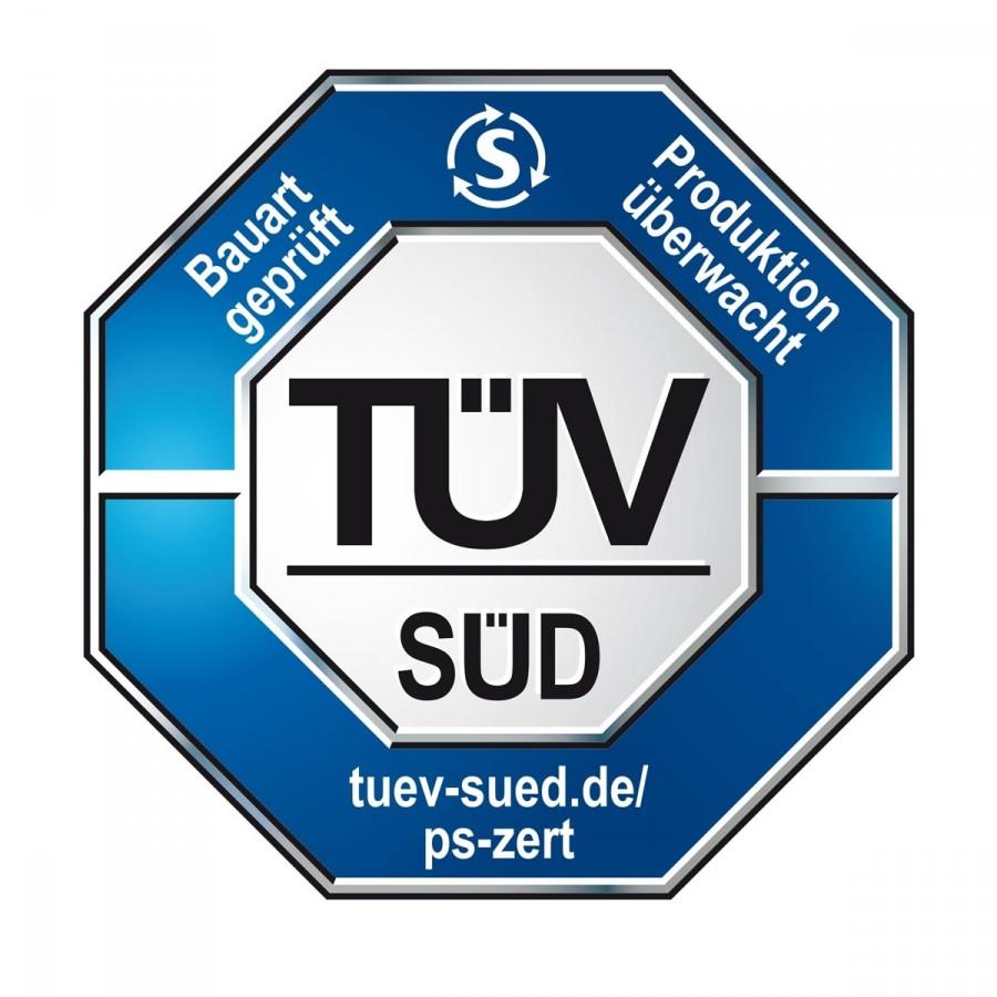 Vom TÜV Süd auf Sicherheit (bis Windstärke 10 = schwerer Sturm), Stabilität und Korrosionsbeständigkeit geprüft und zertifiziert.