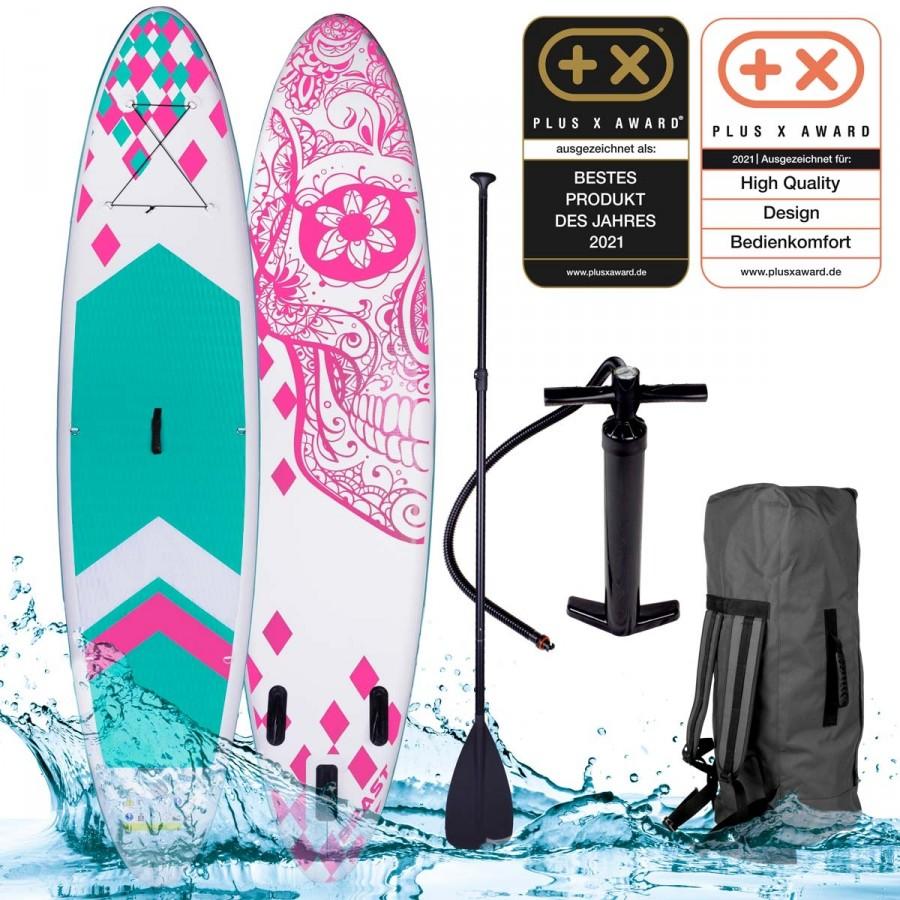 SUP Board aufblasbar CANDY SKULL 320 pink