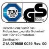 """Unsere BRAST Motorhacke BRB-AF-7000 wurde vom TÜV getestet und mit dem Prüfsiegel """"Geprüfte Sicherheit"""" versehen (Zertifikats-Nr. Z1A 079808 0039 Rev. 00 )"""