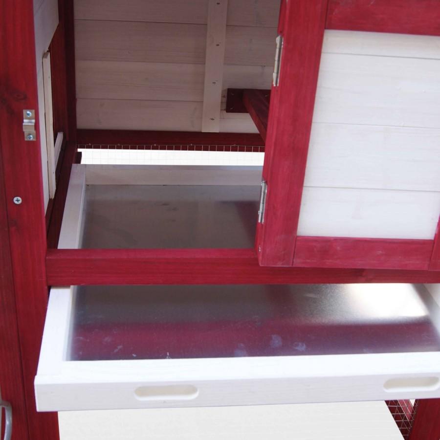 ausziehbare Schublade mit verzinktem Metallboden zur einfachen Reinigung