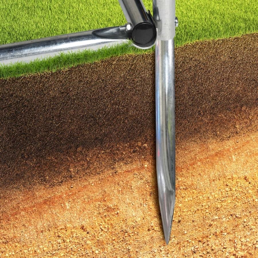 Inkl. 4 Erdanker (optional verwendbar) zur festen Fixierung im Boden