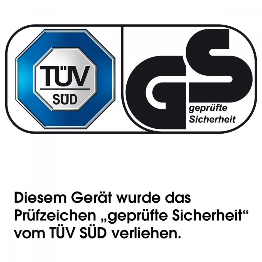 """TÜV-Zertifizierung: Dieses Gerät wurde von der akkreditierten Prüfstelle TÜV Süd getestet, und es wurd ihm das Prüfzeichen """"Geprüfte Sicherheit"""" verliehen"""