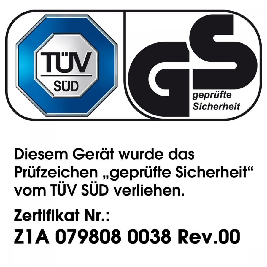 """vom unabhängigen Prüvinstitut TÜV Süd getestet und mit dem Prüfsiegel """"Geprüfte Sicherheit"""" versehen"""