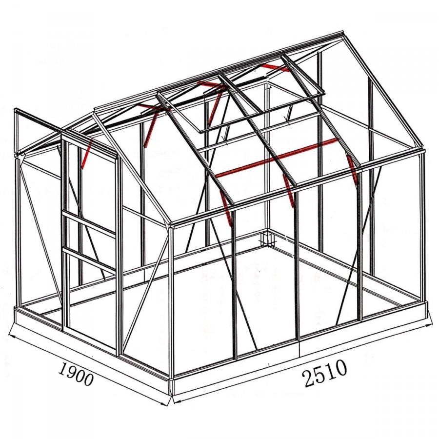 mit 14 zusätzlichen Dachgiebel- und Wandprofilverstärkungen sowie Dachstreben