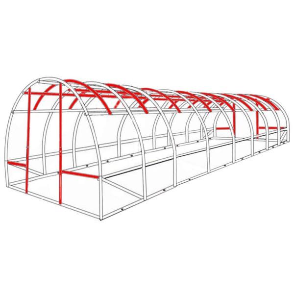Vorteile gegenüber dem Wettbewerb: Unser Gewächshaus mit erheblich mehr Stahlverstrebungen als herkömmliche Modelle (rot markiert)