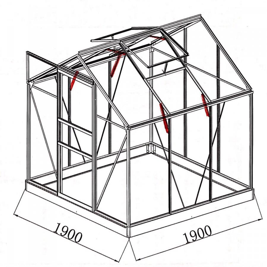 mit 5 zusätzlichen Dachgiebel- und Wandprofilverstärkungen sowie Dachstreben