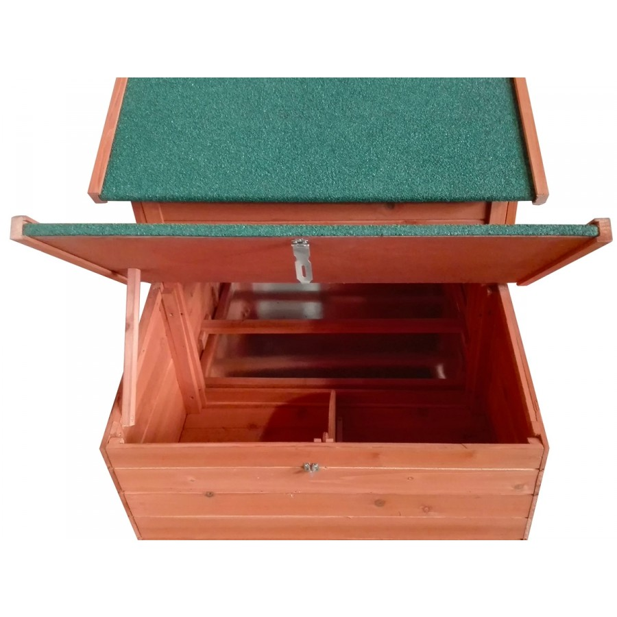 aufklappbare Brutbox mit Teiler und 2 Sitzstangen für artgerechte Hühnerhaltung