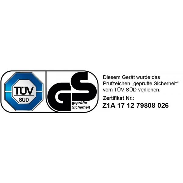 """Unser Rasenmäher wurde vom TÜV getestet und mit dem Prüfsiegel """"Geprüfte Sicherheit"""" versehen (Zertifiktsnr. Z1A171279808026)"""